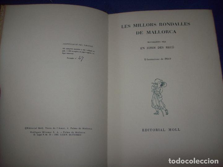 Libros de segunda mano: LES MILLORS RONDALLES DE MALLORCA. ED. MOLL. 1985. IL·LUSTRACIONS DE PRAT. EXEMPLAR NUMERAT - Foto 2 - 122628835
