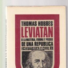 Libros de segunda mano: THOMAS HOBBES - LEVIATÁN - FONDO DE CULTURA ECONOMICA 1980. Lote 126091183