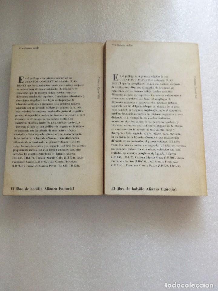 Libros de segunda mano: JUAN BENET CUENTOS COMPLETOS. TOMO 1 y 2. ALIANZA ED - Foto 3 - 126529639