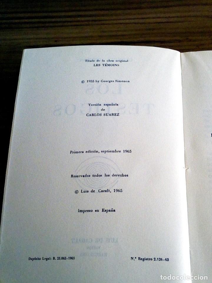 Libros de segunda mano: LOS TESTIGOS. SIMENON, GEORGES. CARALT. 1 ª ED 1965 - Foto 5 - 127467371