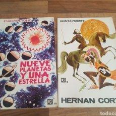 Libros de segunda mano: 2 LIBRITOS DONCEL - NUEVE PLANETAS Y UNA ESTRELLA Y HERNAN CORTÉS. Lote 135495263