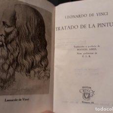 Libros de segunda mano: TRATADO DE LA PINTURA - LEONARDO DA VINCI - AGUILAR - CRISOL Nº68 - 1º EDICION AÑO 1944. Lote 136196490