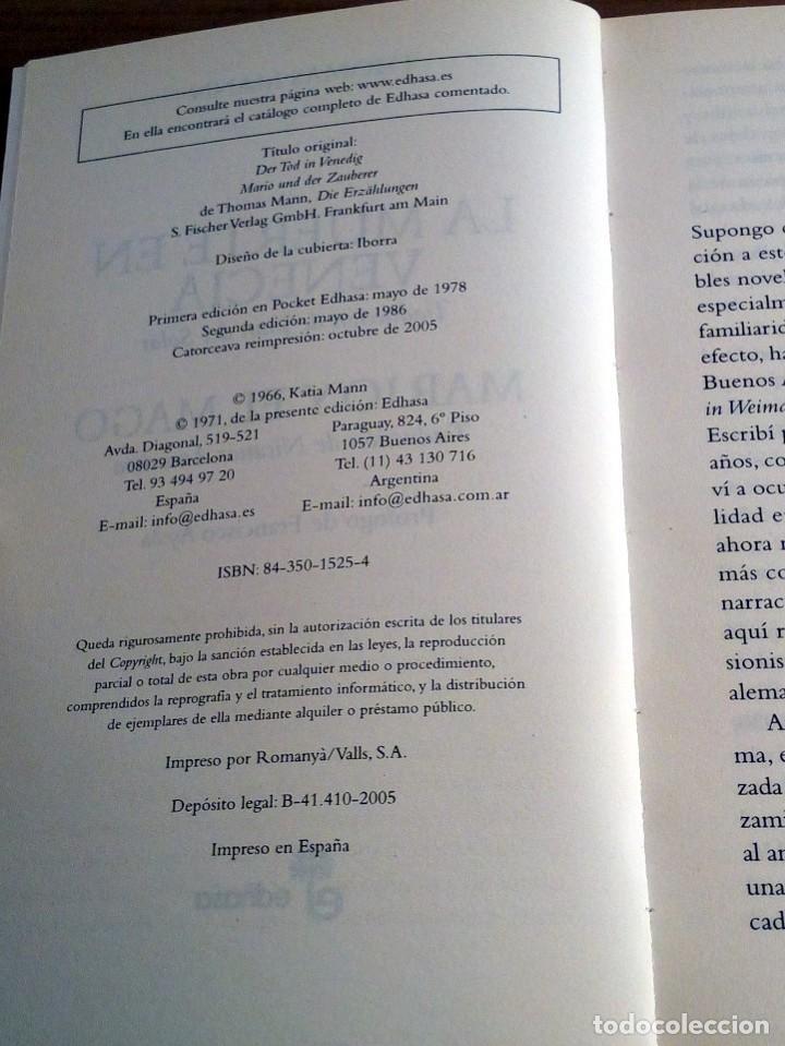 Libros de segunda mano: LA MUERTE EN VENECIA. THOMAS MANN. POCKET EDHASA 25. 2 ª ED 2005 - Foto 5 - 136234318