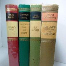 Libros de segunda mano: LOTE 4 LIBROS, GRAN HOTEL , DUERMO BAJO LAS AGUAS, LA NORIA Y POR QUIEN DOBLAN LAS CAMPANAS. Lote 141771254
