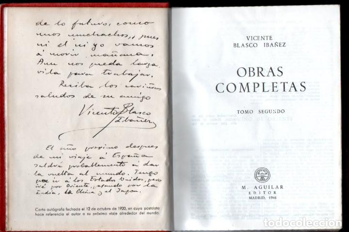 Libros de segunda mano: VICENTE BLASCO IBÁÑEZ . OBRAS COMPLETAS - TRES TOMOS (AGUILAR, 1946) - Foto 2 - 141890386