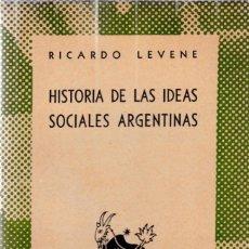 Libros de segunda mano: RICARDO LEVENE - HISTORIA DE LAS IDEAS SOCIALES ARGENTINAS - AUSTRAL Nº 702 / 1947. Lote 206207077