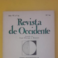 Libros de segunda mano: REVISTA DE OCCIDENTE Nº 62 (MAYO 1968). MONOGRÁFICO HOMENAJE A PÍO BAROJA. Lote 145274870