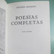 Libros de segunda mano: ANTONIO MACHADO. POESÍAS COMPLETAS. NOVENA EDICIÓN. MADRID 1970. ESPASA - CALPE. . Lote 155445882