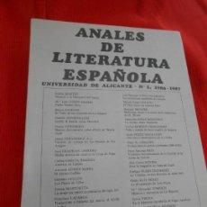 Gebrauchte Bücher - ANALES DE LITERATURA ESPAÑOLA - 163335290