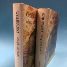Libros de segunda mano: CERVANTES OBRAS COMPLETAS I Y II (COMPLETA EN 2 TOMOS) AGUILAR PIEL CON SOBRECUBIERTA - 18ª ED 1980. Lote 168846930
