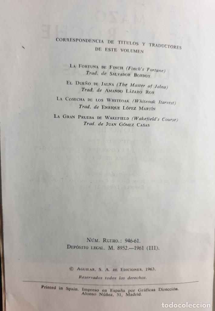 Libros de segunda mano: MAZO DE LA ROCHE: LAS NOVELAS DE JALNA (TOMO III) - AGUILAR, 1ª ED., 1961 - VER TÍTULOS EN FOTOS - Foto 3 - 169236172