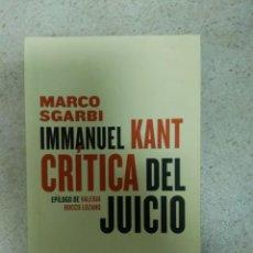 Libros de segunda mano: CRÍTICA DEL JUICIO - IMMANUEL KANT SGARBI. Lote 170117892