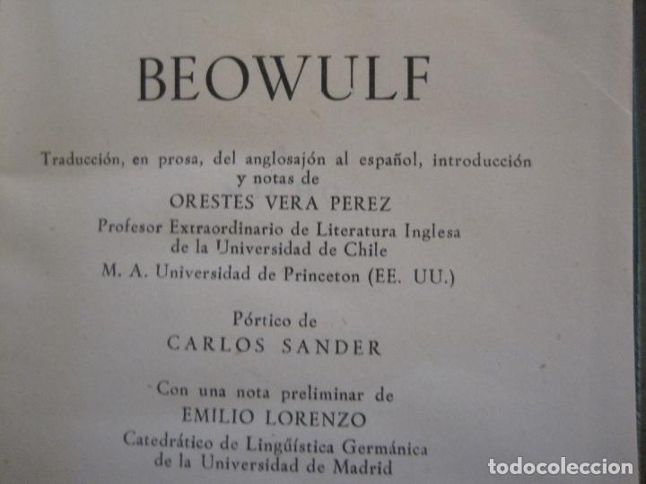 Libros de segunda mano: BEOWULF-COL·CRISOL NUM·2 BIS-1ª EDICION 1959-AGUILAR-VER FOTOS-(V-17.584) - Foto 3 - 176278489