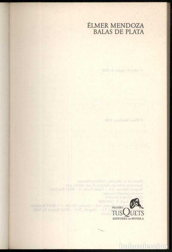 Libros de segunda mano: BALAS DE PLATA.- Elmer Mendoza.- Premio Tusquets. - Foto 2 - 176821130