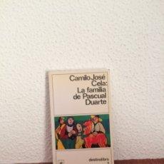 Libros de segunda mano: LA FAMILIA DE PASCUAL DUARTE - CAMILO JOSÉ CELA - DESTINO. Lote 178127417