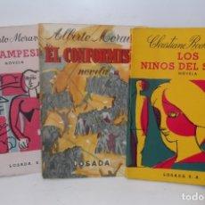 Libros de segunda mano: ## LIBROS DE OCASION # ALBERTO MORAVIA - CHRISTIANE ROCHEFORT # 3 LIBROS - 1956- 1959- 1962 #- . Lote 179399431