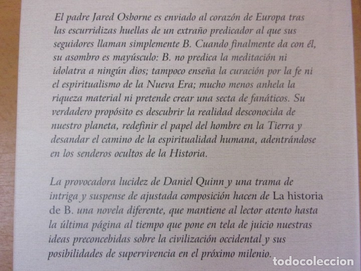 Libros de segunda mano: LA HISTORIA DE B. / DANIEL QUINN / 1ª EDICIÓN 1997. EMECÉ. - Foto 2 - 180333780