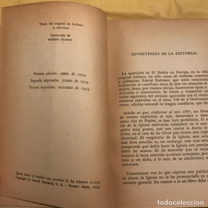 Libros de segunda mano: El diablo - Giovanni Papini. 1954 - Foto 3 - 148362926