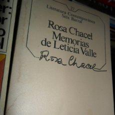 Libros de segunda mano: MEMORIAS DE LETICIA VALLE, ROSA CHACEL, ED. SEIX BARRAL. Lote 181550882