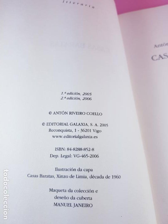 Libros de segunda mano: LIBRO-CASAS BARATAS-ANTÓN RIVEIRO COELLO-EDITORIAL GALAXIA-GALLEGO-2ºedición-2006-nuevo-ver f - Foto 5 - 184455553