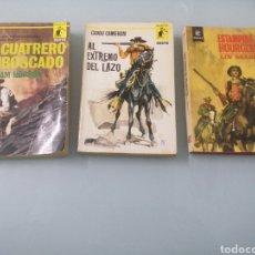 Libros de segunda mano: EL CUATRERO EMBOSCADO. EL EXTREMO DEL LAZO. ESTAMPIDA EN HOURGLASS.. Lote 187162482