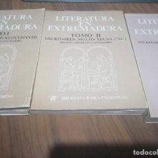 Libros de segunda mano: LITERATURA EN EXTREMADURA. TOMO I-II-III. MANUEL PECELLIN. RÚSTICA. BUEN ESTADO. DIFICIL JUNTOS. Lote 194354725