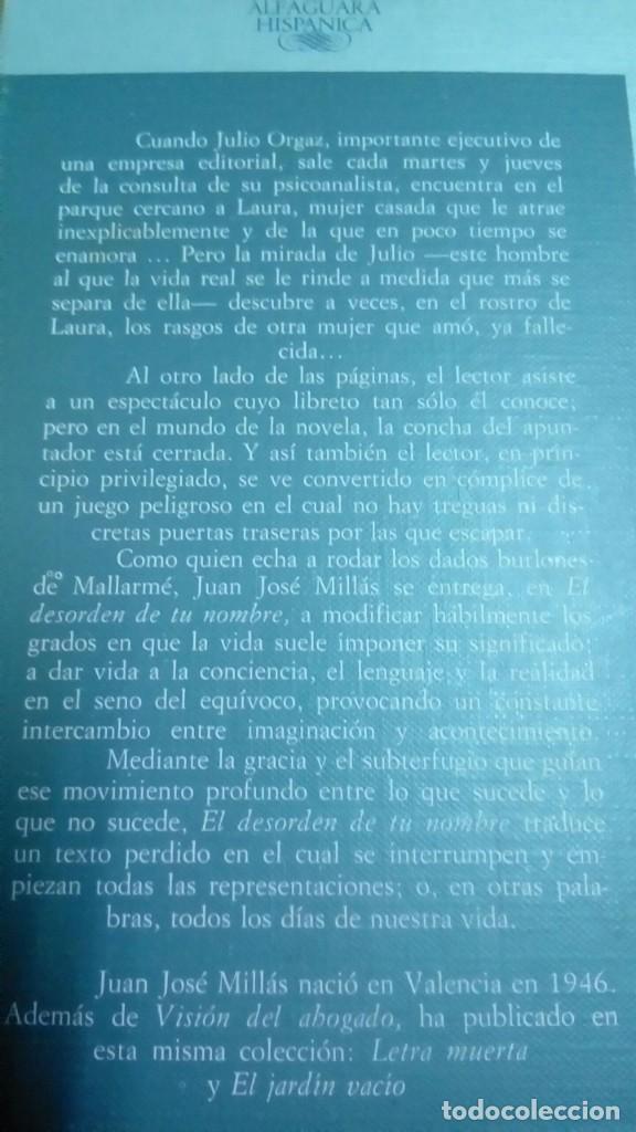 Libros de segunda mano: El desorden de tu nombre, Juan José Millás - Foto 2 - 194907312