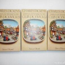 Libros de segunda mano: #CHARLES DICKENS PAPELES PÓSTUMOS DEL CLUB PICKWICK (3 TOMOS) Y99018T . Lote 195471867
