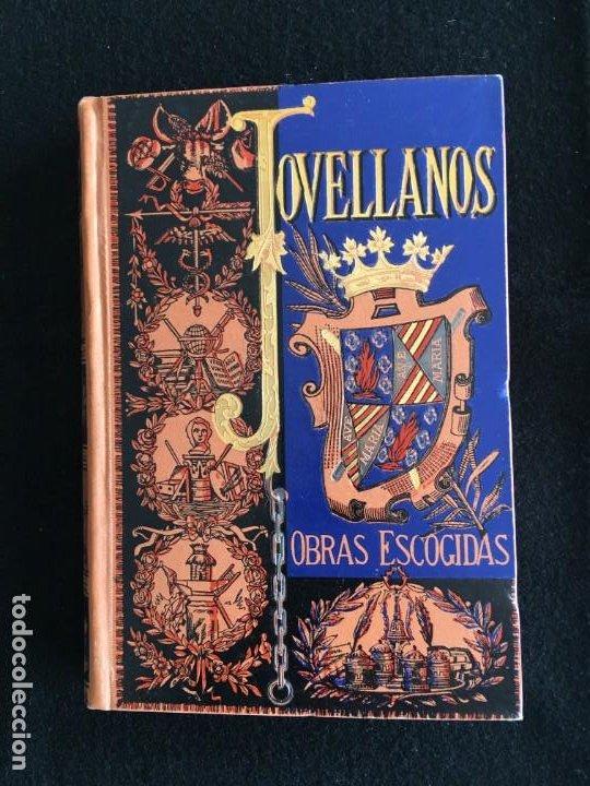 PRECIOSA ENC. Y OBRA. MELCHOR GASPAR DE JOVELLANOS. COL. DE OBRAS ESCOGIDAS. BARCELONA, 1884. (Libros de Segunda Mano (posteriores a 1936) - Literatura - Narrativa - Otros)