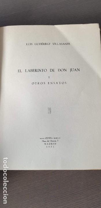 Libros de segunda mano: El laberinto de don Juan y otros ensayos. Luis Gutiérrez Villasante. 1a edición y dedicatoria - Foto 3 - 200141411