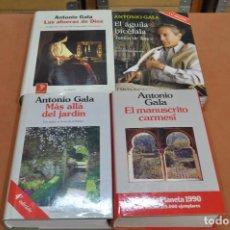 Libros de segunda mano: 4 LIBROS ANTONIO GALA ,MAS ALLA DEL JARDIN, MANUSCRITO CARMESÍ, LAS AFUERAS DE DIOS, EL AGUILA BICÉF. Lote 204741840