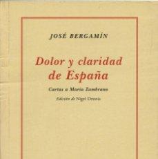 Libros de segunda mano: JOSÉ BERGAMÍN - DOLOR Y CLARIDAD DE ESPAÑA. EDITA JUNTA DE ANDALUCÍA. SEVILLA. 2005. PP. 149. Lote 206206910