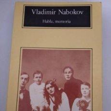 Libros de segunda mano: HABLA, MEMORIA- VLADIMIR NABOKOV. Lote 207569202