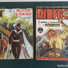 Libros de segunda mano: NOVELA EL ENCAPUCHADO,Nº 24 DE 1947 Y RIESGO COLECCION EL NEGRO DEL NARCISSUS, DE JOSEPH CONRAD 1944. Lote 209826493