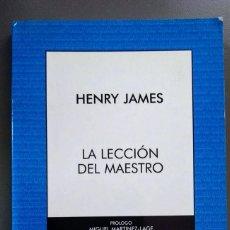 Libros de segunda mano: LA LECCIÓN DEL MAESTRO. HENRY JAMES. AUSTRAL.. Lote 210460338