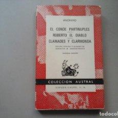 Libros de segunda mano: EL CONDE PARTINUPLES.ROBERTO EL DIABLO. CLAMADES Y CLARMONDA. ED.IGNACIO B. ANZOATEGUI. CABALLERÍAS.. Lote 213488485