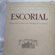 Libros de segunda mano: ESCORIAL REVISTA DE CULTURA Y LETRAS MADRID 1942. Lote 213762562