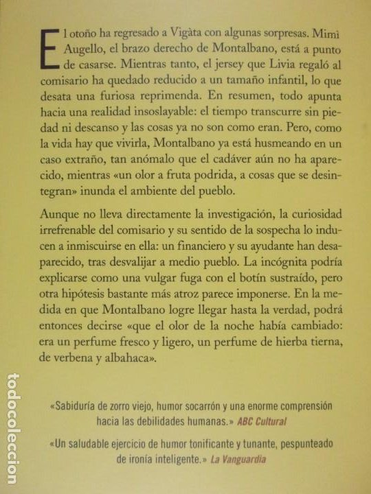 Libros de segunda mano: EL OLOR DE LA NOCHE / ANDREA CAMILLERI / 2019. SALAMANDRA - Foto 5 - 217962510