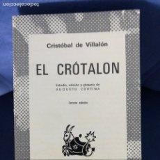 Livres d'occasion: CRISTOBAL DE VILLALON - EL CROTALON - AUSTRAL - BUEN ESTADO. Lote 218985840
