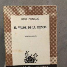 Livres d'occasion: HENRI POINCARE - EL VALOR DE LA CIENCIA - AUSTRAL - BUEN ESTADO. Lote 219013787
