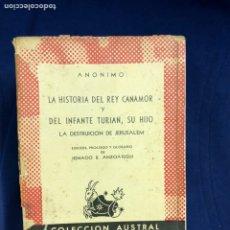 Libri di seconda mano: ANONIMO - LA HISTORIA DEL REY CANAMOR Y DEL INFANTE TURJAN, SU HIJO - AUSTRAL. Lote 219182462