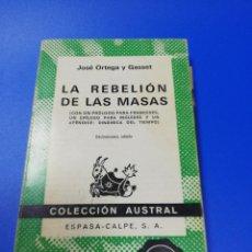 Libros de segunda mano: LA REBELION DE LAS MASAS. JOSE ORTEGA Y GASSET. ESPASA-CALPE. 1972.. Lote 283500688