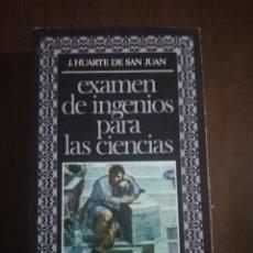 Libros de segunda mano: EXAMEN DE INGRESOS PARA LAS CIENCIAS. J. HUARTE DE SAN JUAN. EDITORA NACINAL. 1977.. Lote 222616031