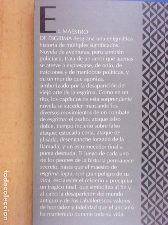 Libros de segunda mano: EL MAESTRO DE ESGRIMA / ARTURO PEREZ-REVERTE / 3ª Ed. 1992. MONDADORI - Foto 4 - 228324090