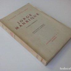"""Libros de segunda mano: """"CANCIONERO"""" - JORGE MANRIQUE - ESPASA-CALPE - 1966. Lote 234926725"""