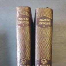 Libros de segunda mano: UNAMUNO, M. DE: ENSAYOS. DOS TOMOS. AGUILAR. PRIMERA EDICIÓN. MADRID: AGUILAR, 1942. Lote 236915610
