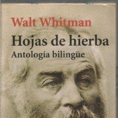 Libri di seconda mano: WALT WHITMAN. HOJAS DE HIERBA. ANTOLOGIA BILINGUE. ALIANZA. Lote 238043195