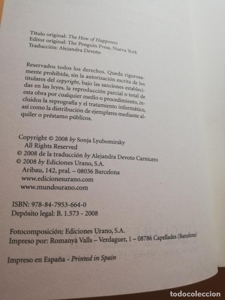 Libros de segunda mano: LA CIENCIA DE LA FELICIDAD. SONJA LYBOMIRSKY. EDITORIAL URANO. 2008. PAG.408. - Foto 3 - 245366080