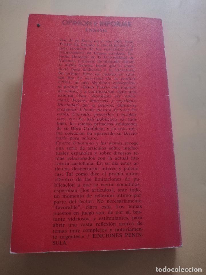 Libros de segunda mano: CONTRA UNAMUNO Y LOS DEMAS. JOAN FUSTER. EDICIONES DE BOLSILLO. 1975. PAG. 163. - Foto 5 - 245417100
