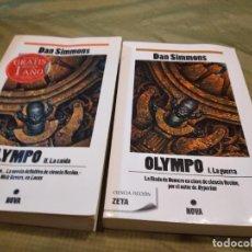 Libros de segunda mano: M-27 LOTE DE DOS LIBROS DAN SIMMONS OLYMPO LA GUERRA Y LA CAIDA. Lote 249394365